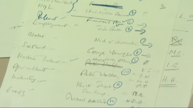 int notes for margaret thatcher's first cabinet including michael heseltine name - michael heseltine stock videos and b-roll footage