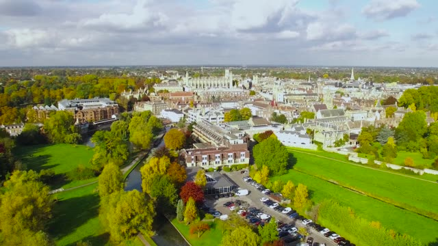 cambridge uk skyline aerial video - cambridge university stock videos & royalty-free footage