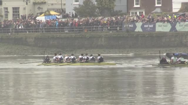 cambridge women's team wins the oxford and cambridge boat race in mortlake, london. interviews with cambridge number 4 rower larkin sayre and... - oxford england video stock e b–roll