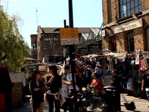 interviews with the damned / air traffic / lisa parlon england london camden ext the hawley arms pub / general view of camden lock / lock 17 market... - bizarre fashion stock videos and b-roll footage