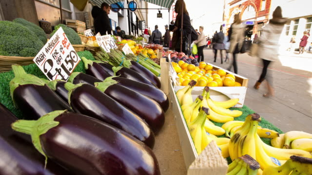camden town market stall - time lapse - vegetable stock videos & royalty-free footage
