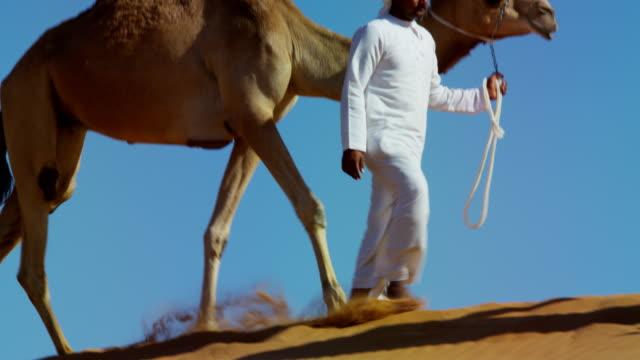 camel caravan train travelling across middle eastern desert - headdress stock videos & royalty-free footage