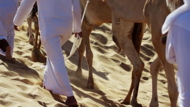 vídeos de stock, filmes e b-roll de camel caravan train travelling across middle eastern desert - adereço de cabeça