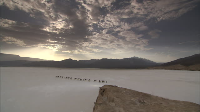 a camel caravan treks across a salt flat on a cloudy day near mountains in djibouti. - mineral stock videos & royalty-free footage