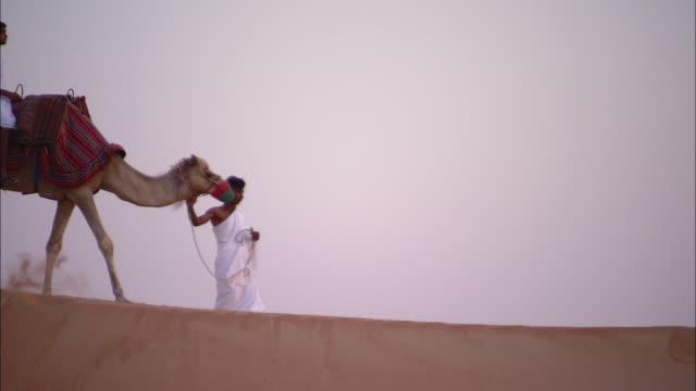 Camels carry passengers as a caravan travels across the desert.