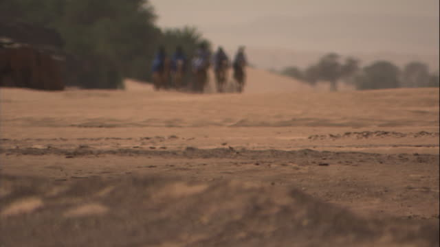 camels transport riders across a desert. - mauritania stock videos & royalty-free footage