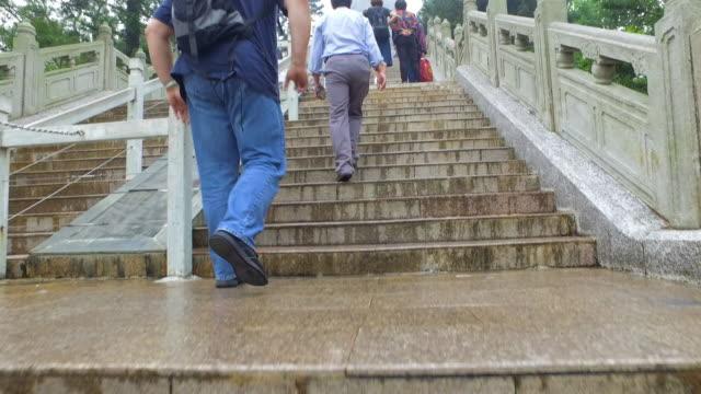 camera angling up stone steps to people and tian tan buddha above - hong kong, china - tian tan buddha stock videos and b-roll footage