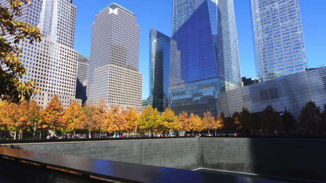vidéos et rushes de tu camera captured 9/11 memorial south pool and skyscrapers, which are surrounded by autumnal leaves trees. - one animal