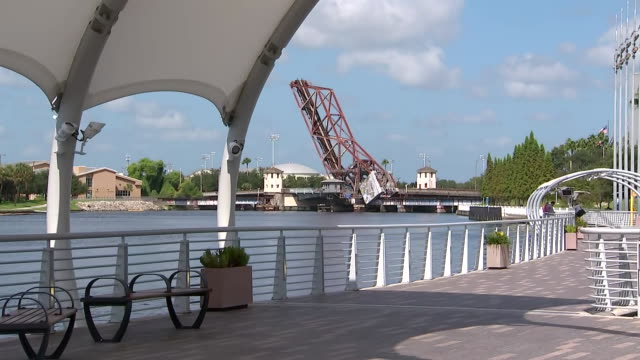 a camera captures an establishing shot of the pedestrian trail of tampaõs riverwalk along the hillsborough river in tampa florida - aerial or drone pov or scenics or nature or cityscape stock videos & royalty-free footage