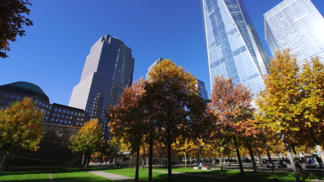 PAN Camera captures autumnal leaves trees and One World Trade Center and skyscrapers at 9/11 Memorial.