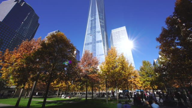 TU Camera captures autumnal leaves trees and One World Trade Center and skyscrapers at 9/11 Memorial.