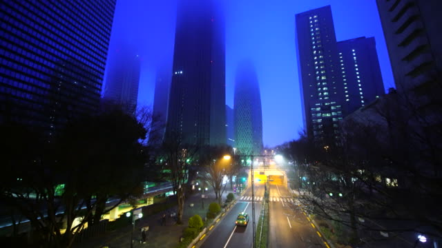 Camera captures Chuo-Dori and Shinjuku Subcenter skyscrapers in foggy dawn.
