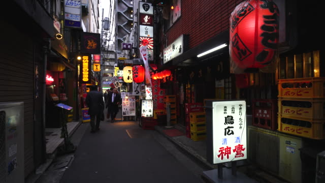 Camera captures Izakaya and Nomiya (Restarant Bar) along the both side of alley at dusk in Yurakucho, Tokyo. Evening commuter goes through the alley.