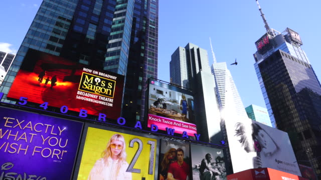 Camera captures many electronic billboards at Times Square in New York City.