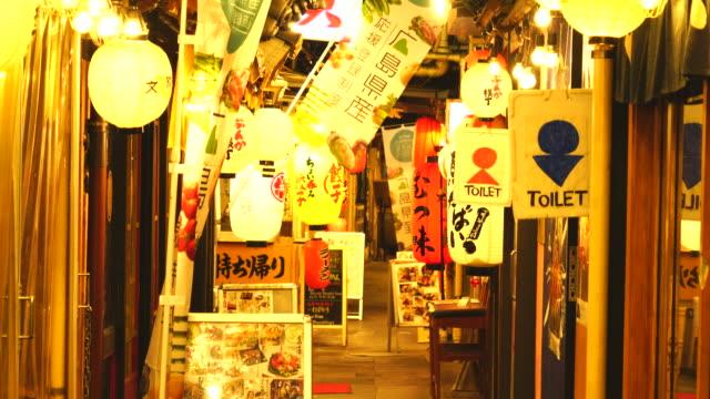 Camera captures many Izakaya and Nomiya (Restarant Bar) along the both side of Bunka-Yokocho Alley in Yurakucho Sanchoku Inshokugai, Tokyo.