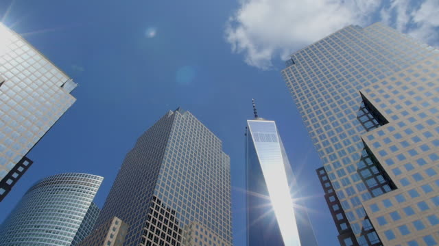 TD Camera captures One World Trade Center and skyscrapers at World Financial Center.The sun illuminate One World Trade Center.