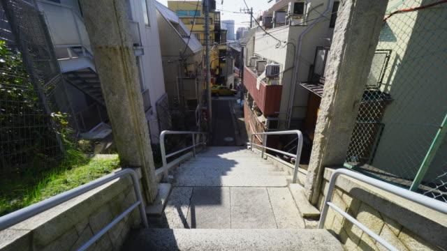 camera captures overlook view of kagurazaka area in kagurazaka tokyo. - tradition stock videos & royalty-free footage
