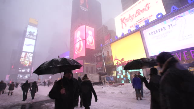 Camera captures people and neon billboard at Times Square during the serious winter snowstorm Jonas.