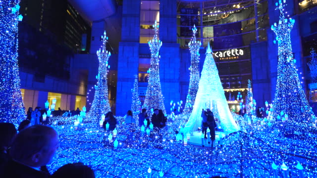 pan camera captures people enjoying to watching and photographing the caretta illumination show, which is illuminated by approximately 250,000 led lights every 20 minutes in caretta shopping mall shiodome tokyo japan on january 16 2018. - disney stock videos & royalty-free footage