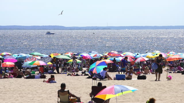 pan camera captures people who are bathing in the sun at crowded coney island beach. there are many colorful beach parasols on the beach. - 音声あり点の映像素材/bロール