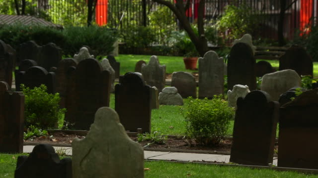 PAN Camera captures row of gravestone at the Trinity Church in Downtown Manhattan.