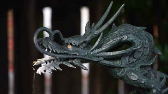 camera captures statue of dragon at chozuya or temizuya (shinto water ablution pavilion), which supply temizu (purification water) to worshippers at otori shrine in zoshigaya, toshima-ku tokyo japan. - dragon stock videos & royalty-free footage
