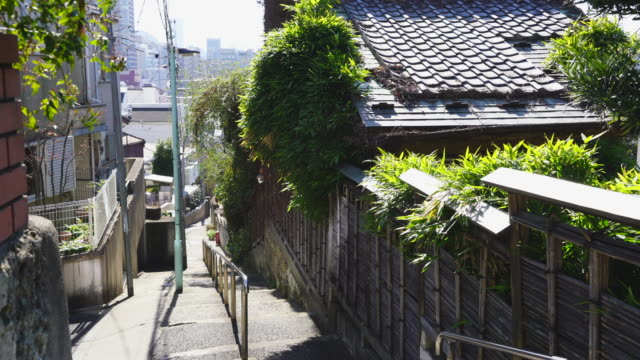 camera captures the cityscape of hinashizaka (hinashi slope) area, which was maintained in early showa period at takada toshima ward tokyo japan on feb. 03 2019. - steps and staircases stock videos & royalty-free footage