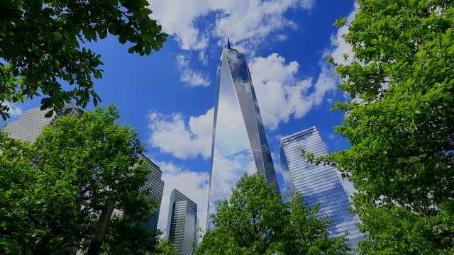 camera captures the freedom tower and clouds which are surrounded by fresh green trees at 911 memorial park.world financial center and other skyscrapers can be seen behind. - 低角度觀看 個影片檔及 b 捲影像