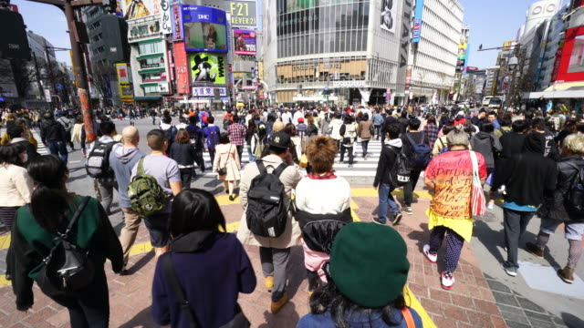 camera captures the pedestrian and cityscape at shibuya intersection on sunday afternoon. - segnale per macchine e pedoni video stock e b–roll