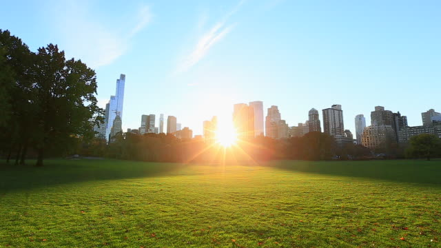 camera captures the sunset between manhattan skyscrapers at autumn sheep meadow central park. - central park manhattan video stock e b–roll