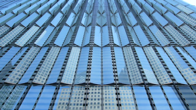 TU Camera captures windows and detail of West side of Freedom Tower.World Financial Center are reflected to windows