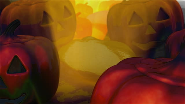 camera dolly over field of carved pumpkins, front view (loopable) - smirking stock videos and b-roll footage