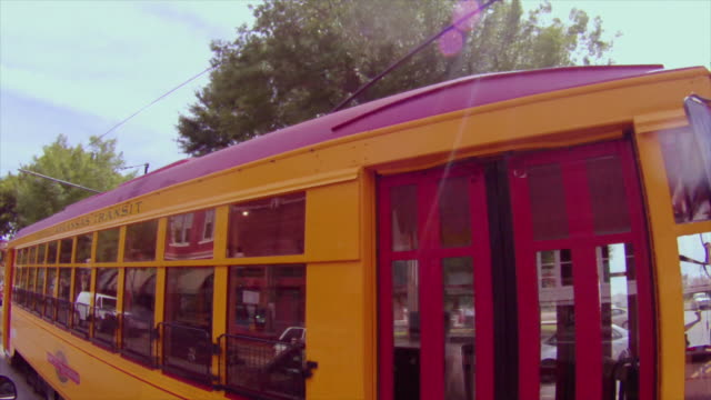 Camera drives by  downtown Little Rock trolley, Central Arkansas Transit