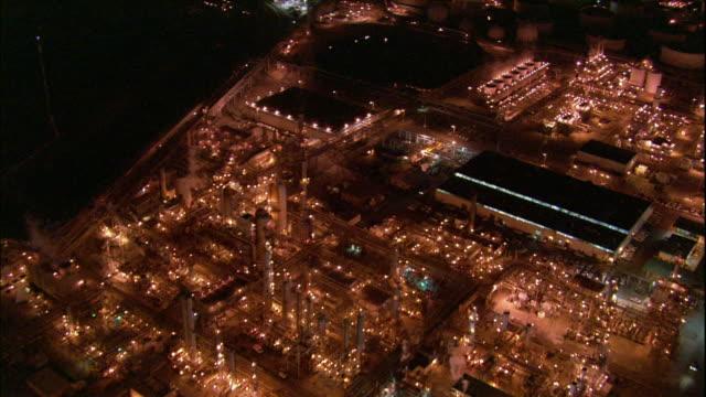 Camera flies over Long Beach area oil refineries