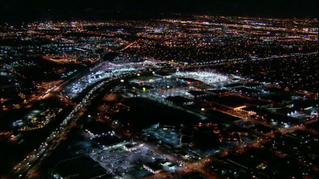 Camera flies over shopping mall