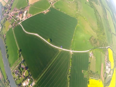 Camera follows Gary Connery as he completes his world record wingsuit Jump out of a helicopter without a parachute on May 23 2012 in HenleyonThames...
