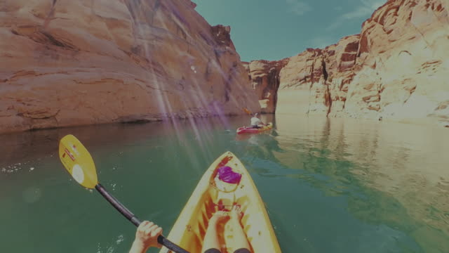 360 camera pov kayaking in lake recreational area - 360 video stock videos & royalty-free footage