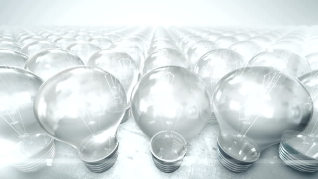 Camera movement over group of lightbulbs (bright) - Loop