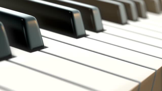 Movimento de câmara no teclado de piano (vista lateral)-Loop