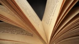 Camera moves inside the book. Reading book in library. Old book sways in the wind. Slider shot with probe lens