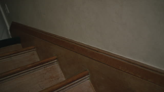Camera moves up an old oak staircase, creepy shadow crosses the wall.