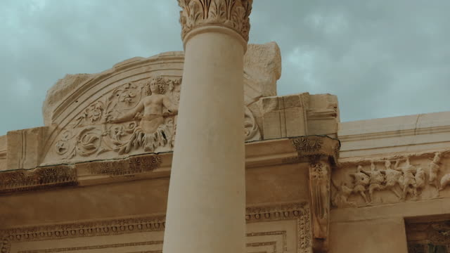 camera pan around ancient architecture - stone object stock videos & royalty-free footage