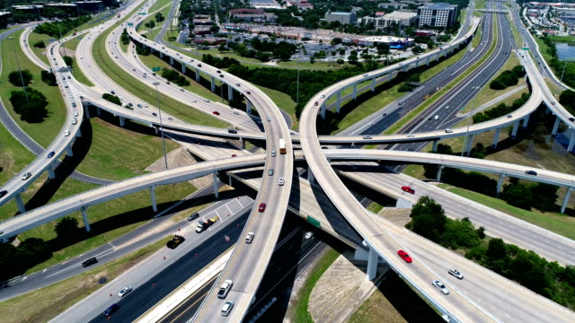 camera pan down Aerial View Highways and Interchange above Mopac Expressway and Highway 183 in Austin , Texas , USA