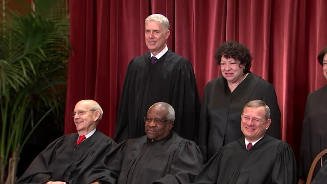 camera pan on the current justices of the us supreme court on november 30, 2018. - supreme court justice stock videos & royalty-free footage