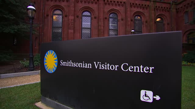 camera pan on the exterior of the smithsonian visitor center during the us government shutdown on january 2 2019 in washington dc - smithsonian institution stock videos & royalty-free footage