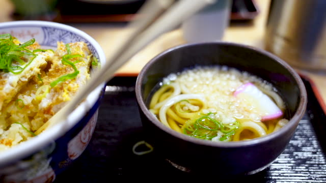 camera pan tonkatsu donburi japanese fried pork rice bowl. - donburi stock videos and b-roll footage