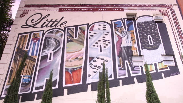 camera pans across and tilts down to little havana mural on wall of building - マイアミ点の映像素材/bロール