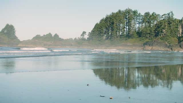 vídeos y material grabado en eventos de stock de camera pans as waves break off a beautiful secluded island beach. - océano atlántico