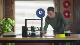 Digital Model Rotates On Computer Screen As Camera Pans To 3d