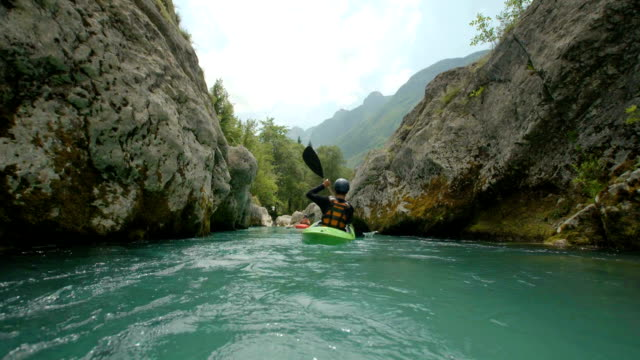 hd: camera point of kayaking in the canyon - canoe stock videos & royalty-free footage